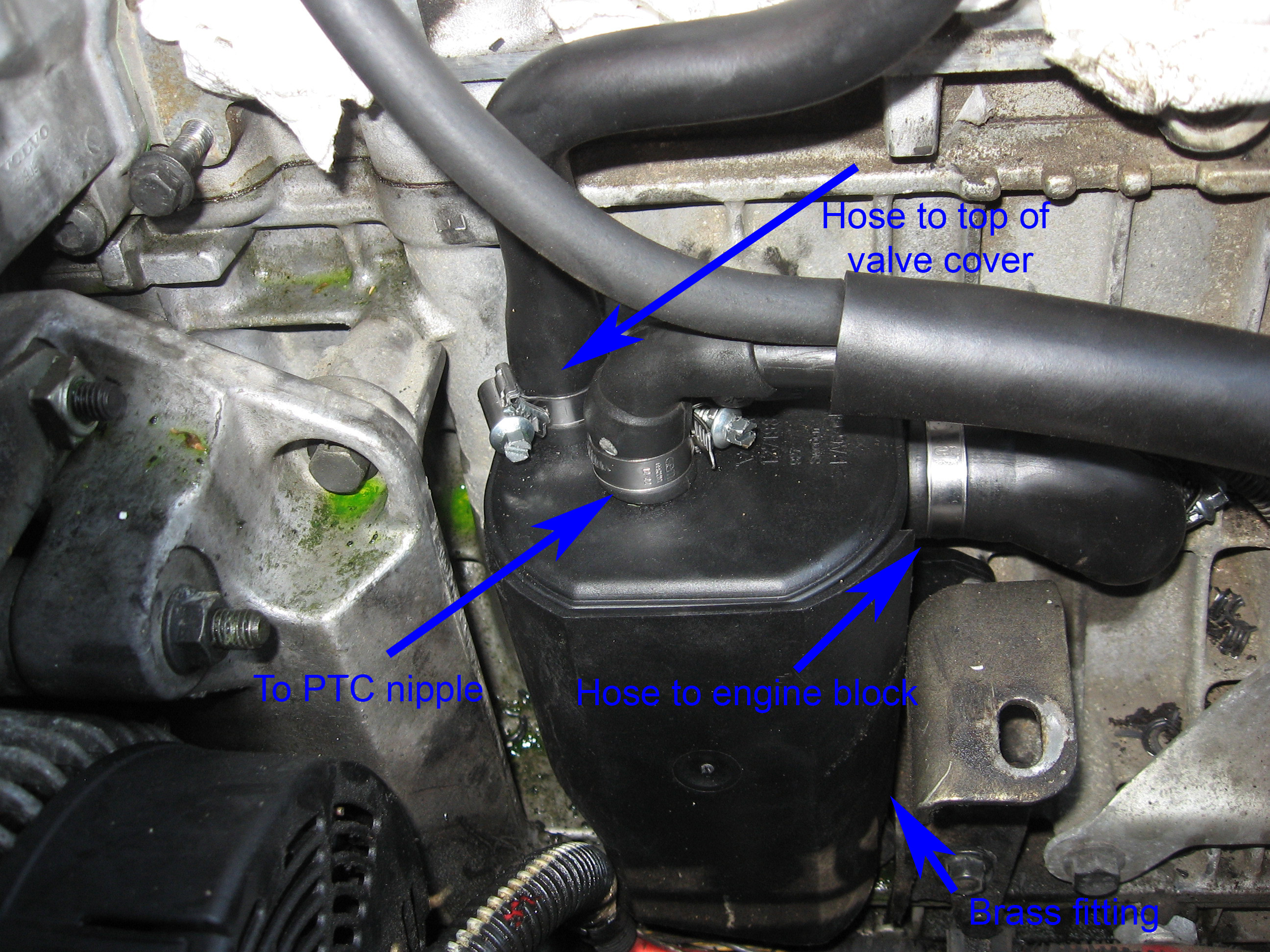 pcv system repair on a volvo 5 cylinder 16 jpg