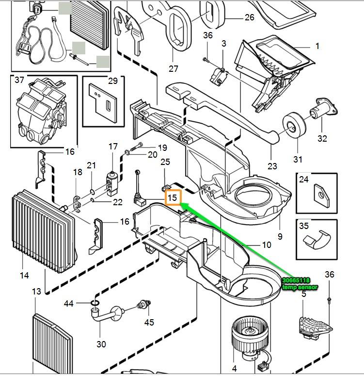 fan motor passenger compartment temperature sensor