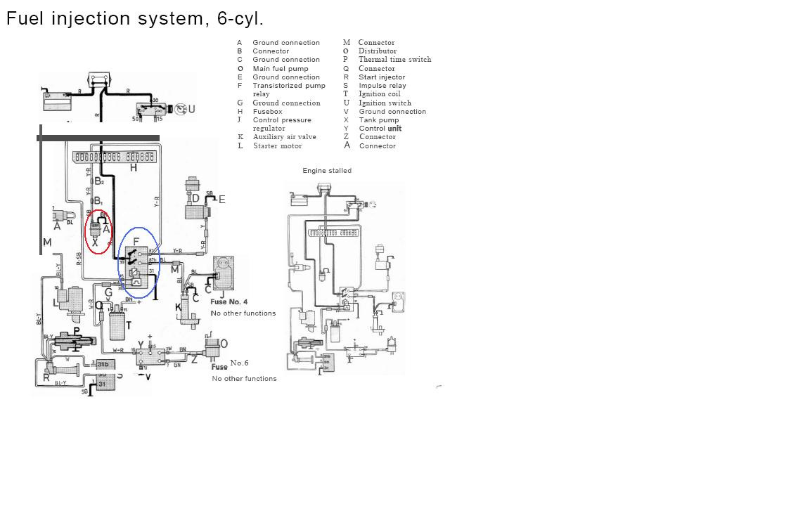 93 240 no power to fuse # 4 for fuel pump