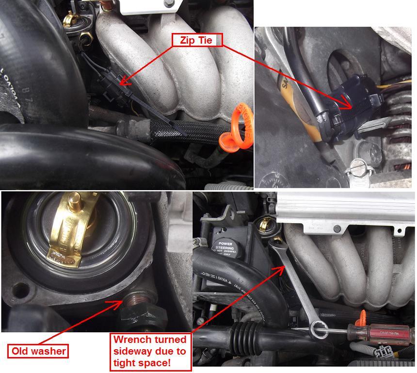 diy  1998 v70 ect  engine coolant temp  sensor replacement