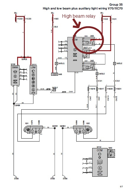 Auxiliary Driving Lamps - V70 Wiring Diagram