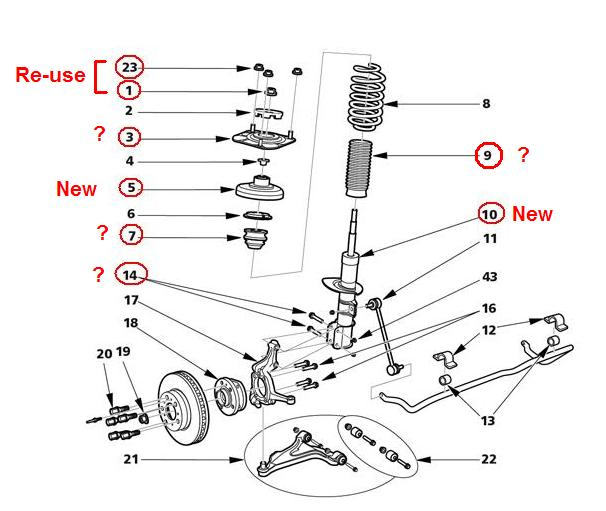Front Suspension: Which parts to re-use