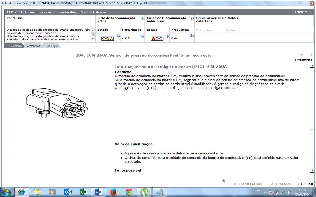 2005 v50 ful pressure sensor dtc code ecm-260a
