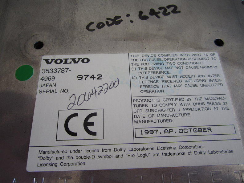 get a radio code for a Volvo SC-900 radio