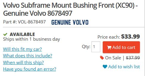98 S70, Subframe bushing part number question...