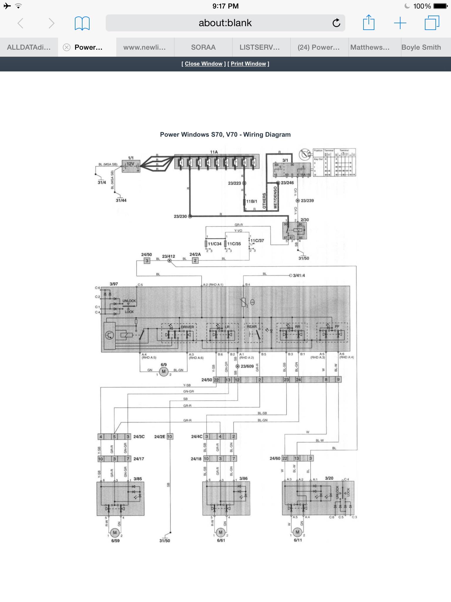 Power Window fuse #37 | Volvo S60 Window Wiring Diagram |  | Matthews Volvo Site