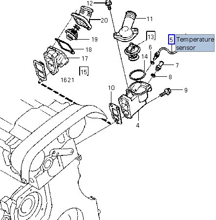 P0128 Engine Coolant Temperture Sensor location? 2001 S60