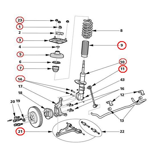 front suspension - putting together parts list