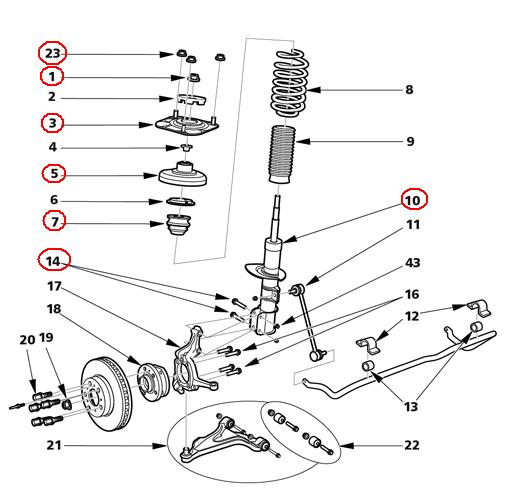 Volvo V70 Front Strut Replacement Tutoria on 2001 Jaguar S Type Parts Diagram