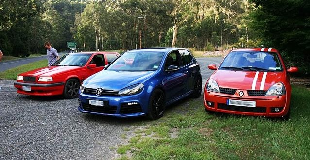 1997 Volvo 850 R, 2010 Golf R and a Renault Clio Cup