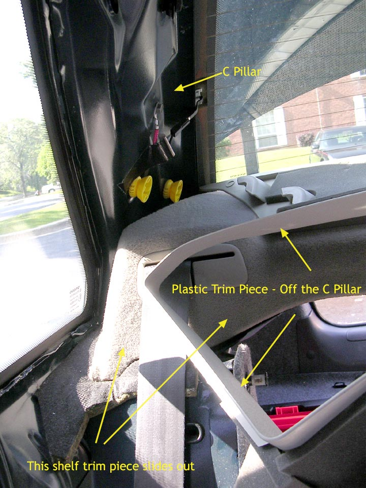 rear shelf speaker fix volvo 850 s70 v70 c70 xc70 step 4 picture below shows the drivers side c pillar the trim off you will the cabling for the rear defroster again i cannot stress enough the