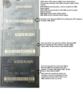 2001 V70 ABS modules compared