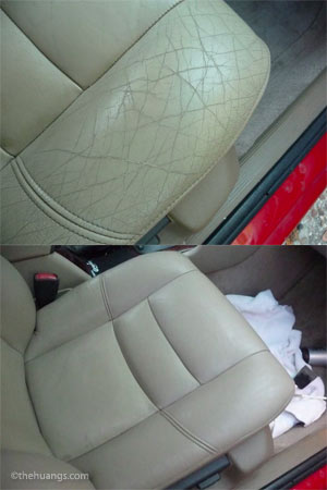 Leather seat cracking fix, before and after photo