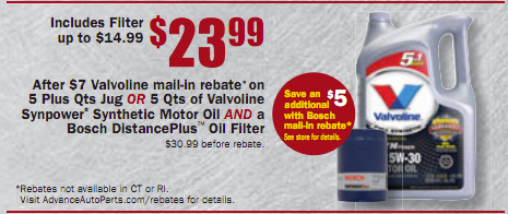 Valvoline oil on sale mvs for Synthetic motor oil sale