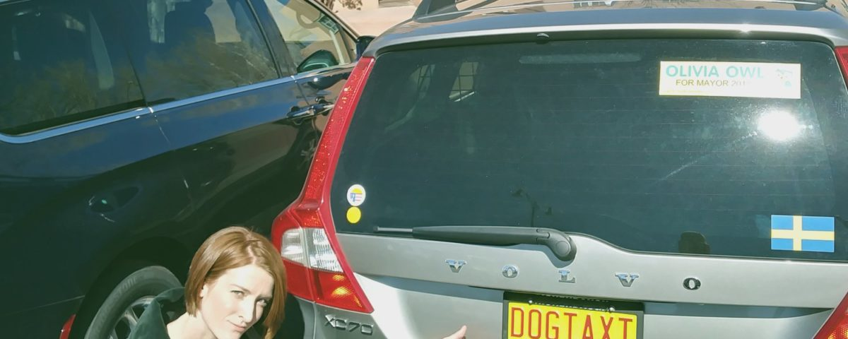 "P3 Volvo XC70 with ""DOGTAXI"" license plate"