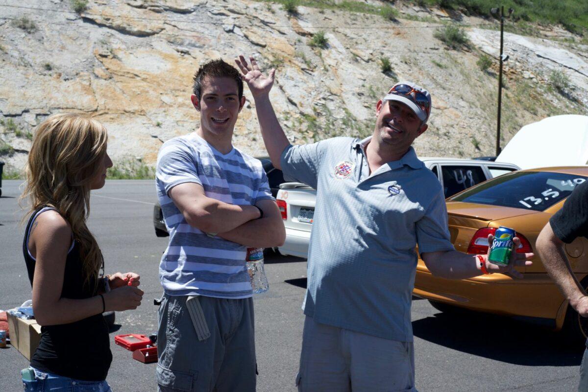 Brett Borders (r), C70 owner, 2013 @Bandimere Speedway