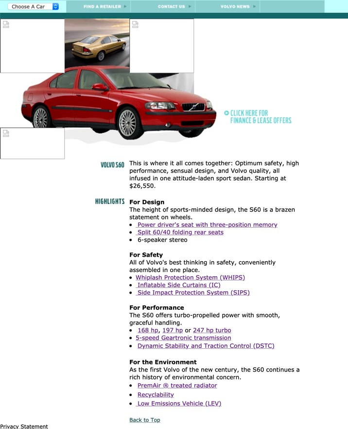 Volvo S60 Web page in 2000