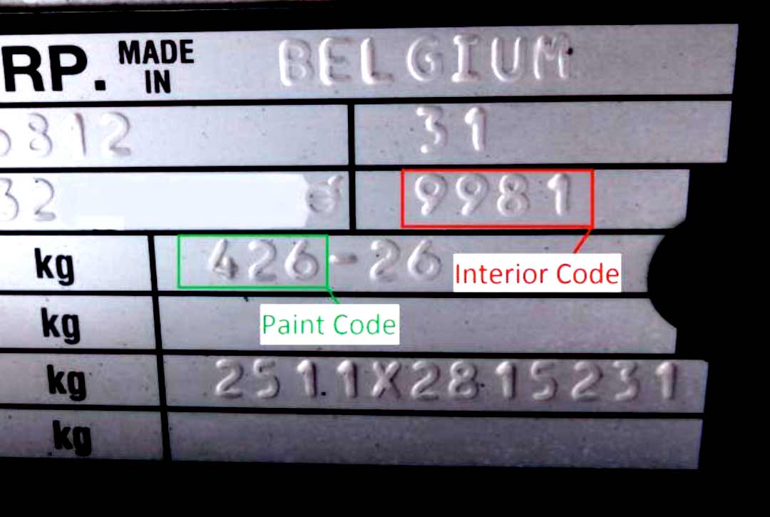 paint codes on vin plate interior and exterior codes