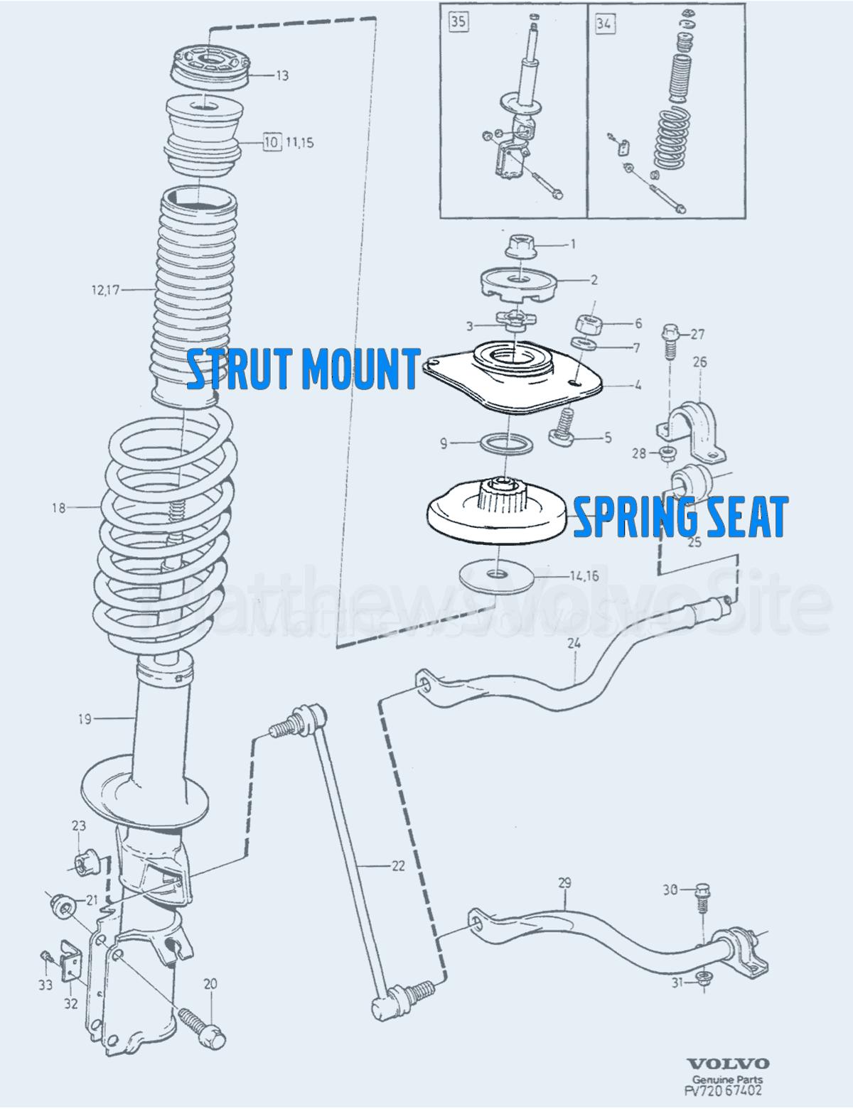 Strut mount vs spring seat, entire view including strut/spring, tie rod, hardware