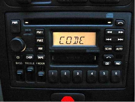 Volvo radio says code