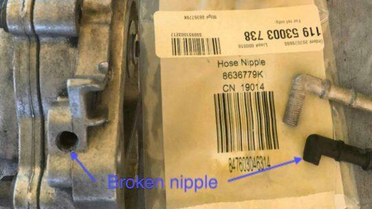 Broken Thermostat Nipple -